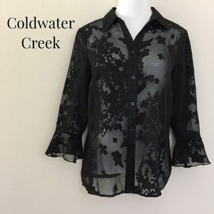 Coldwater Creek Sheer Lace Blouse